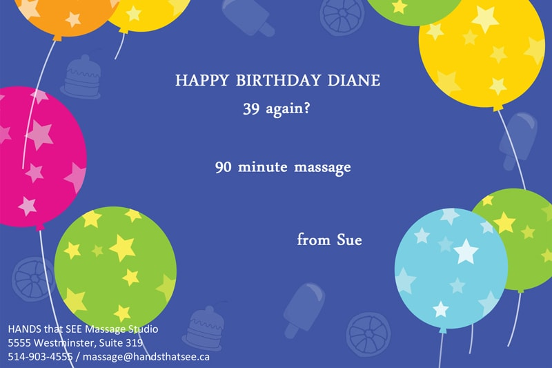 The best birthday EVER!! This gift massage is hard to top, for that someone who has it all.
